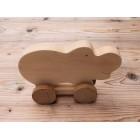 Drvena igračka - životinja na kotačima - Hippo