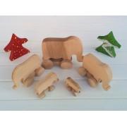 Drvena igračka - životinja na kotačima - Slon