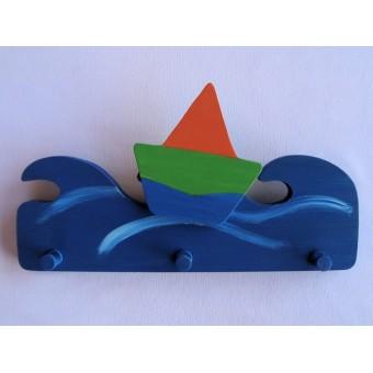 Drvena vješalica - velika - More i jedrilica 1